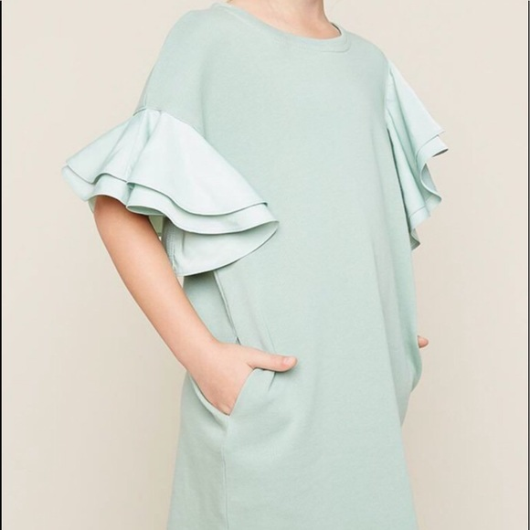 Hayden Other - Asymmetrical shoulder dress with ruffles